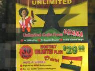 Advertisement of a cheap rate for mobile communication between Ghana and the United States (the photo is taken in New York City)
