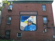 Marcus Garvey's portrait on the wall of the social support center named after him in Boston
