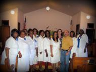 Veronica V. Usacheva and Dmitri M. Bondarenko with members of Livingston Chapel community, activists of Emma Miller Women's Missionary Society; the closest to the researchers is the Chapel Pastor Rev. Debra Ballard