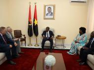 Во время встречи с Президентом Анголы. Слева направо: Н.Рыбчук, А.Токарев, Президент Анголы Ж.Лоуренсу, заместитель Председателя МПЛА Л.Дамиан, член руководства МПЛА.