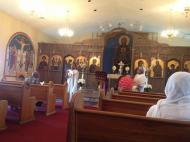 Эфиопская литургия в арендуемой раз в две недели греческой православной церкви св. Константина и Елены в Хантсвилле (фото В.В. Усачевой)