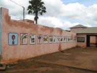Ограда дворца традиционного правителя Аллады с символами власти и именами его предшественников (фото Д.М. Бондаренко)